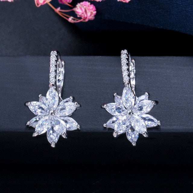EMS Support Crystal Floral Earrings