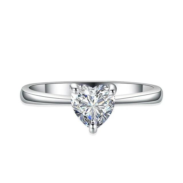 EMS Support White Crystal Heart Solitaire Ring