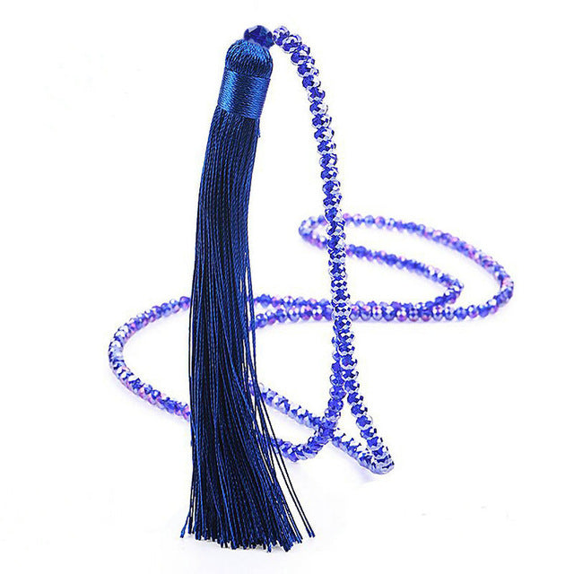 Police Glass Beads Long Tassel Necklace