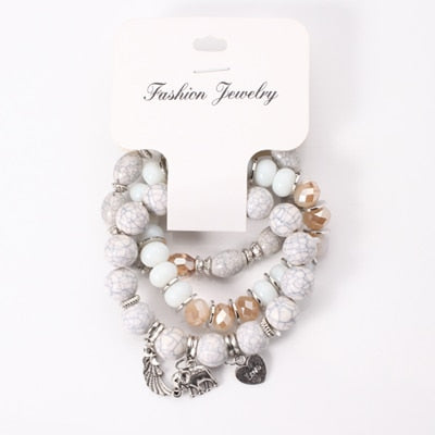 Multi-layered White Boho Bead Bracelet