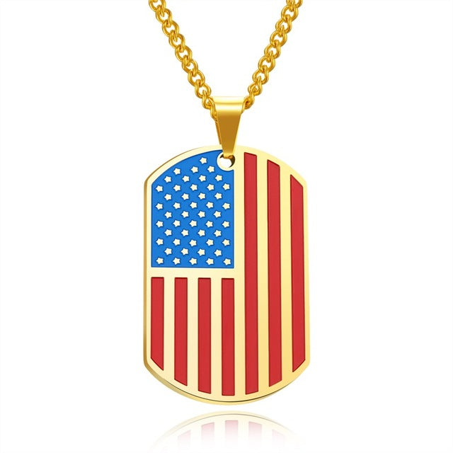 US Police Support Flag Dog Tag Necklace