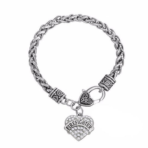 Crystal Heart Firefighter Bracelet