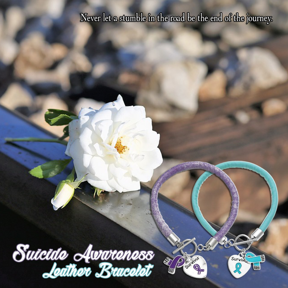 Suicide Awareness Leather Bracelet