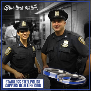 Stainless Steel Police Support Blue Line Ring