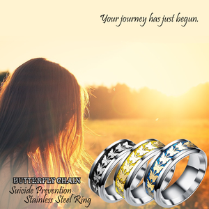 Butterfly Chain Suicide Prevention Stainless Steel Ring