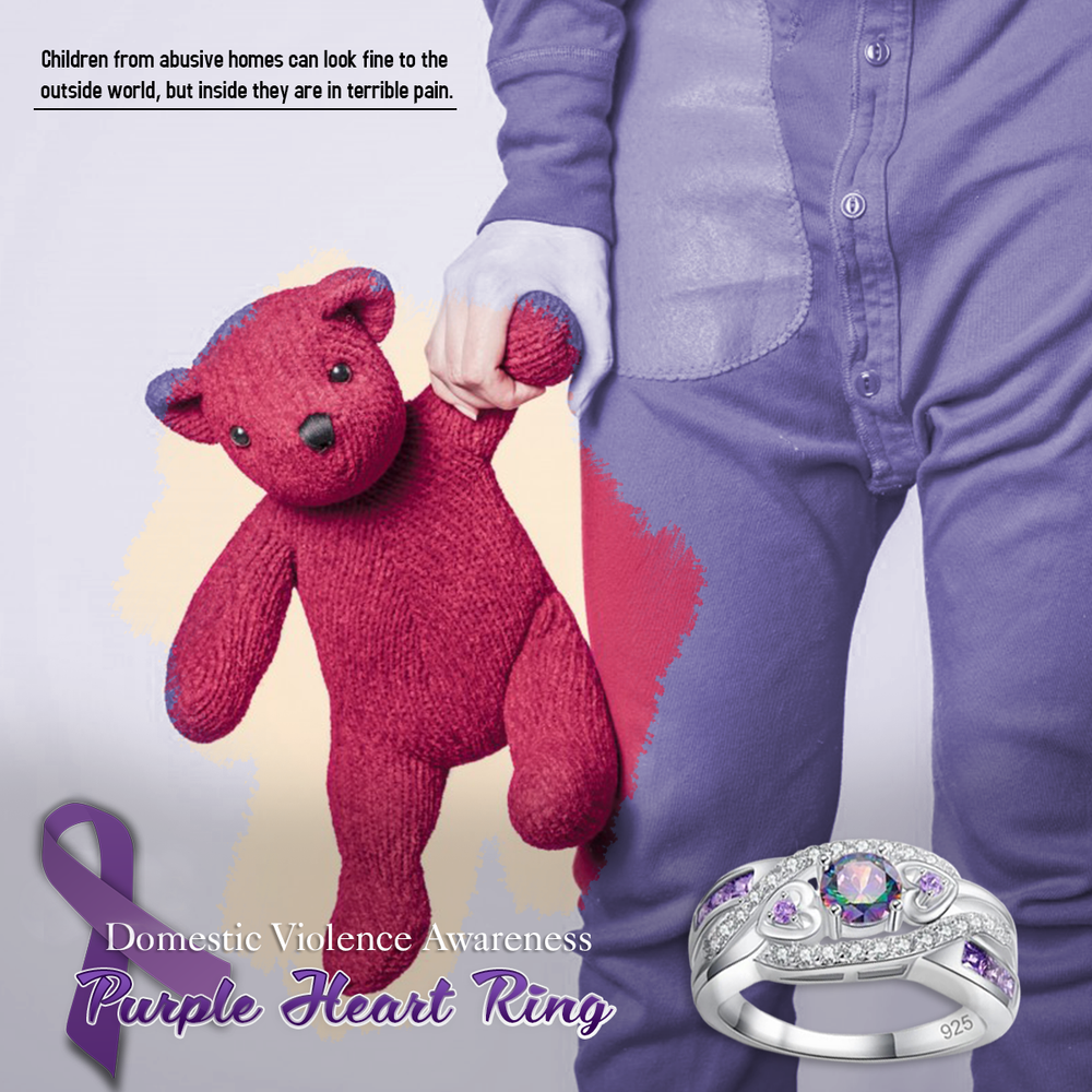 Domestic Violence Awareness Purple Heart Ring