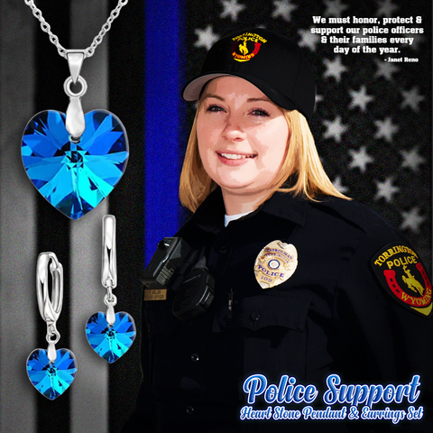 Police Heart Stone Pendant and Earrings Set
