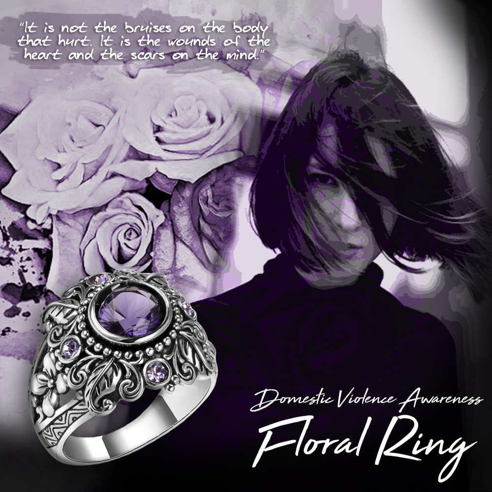 Floral Domestic Violence Awareness Ring