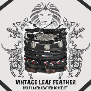 Vintage Leaf Feather Multilayer Leather Bracelet