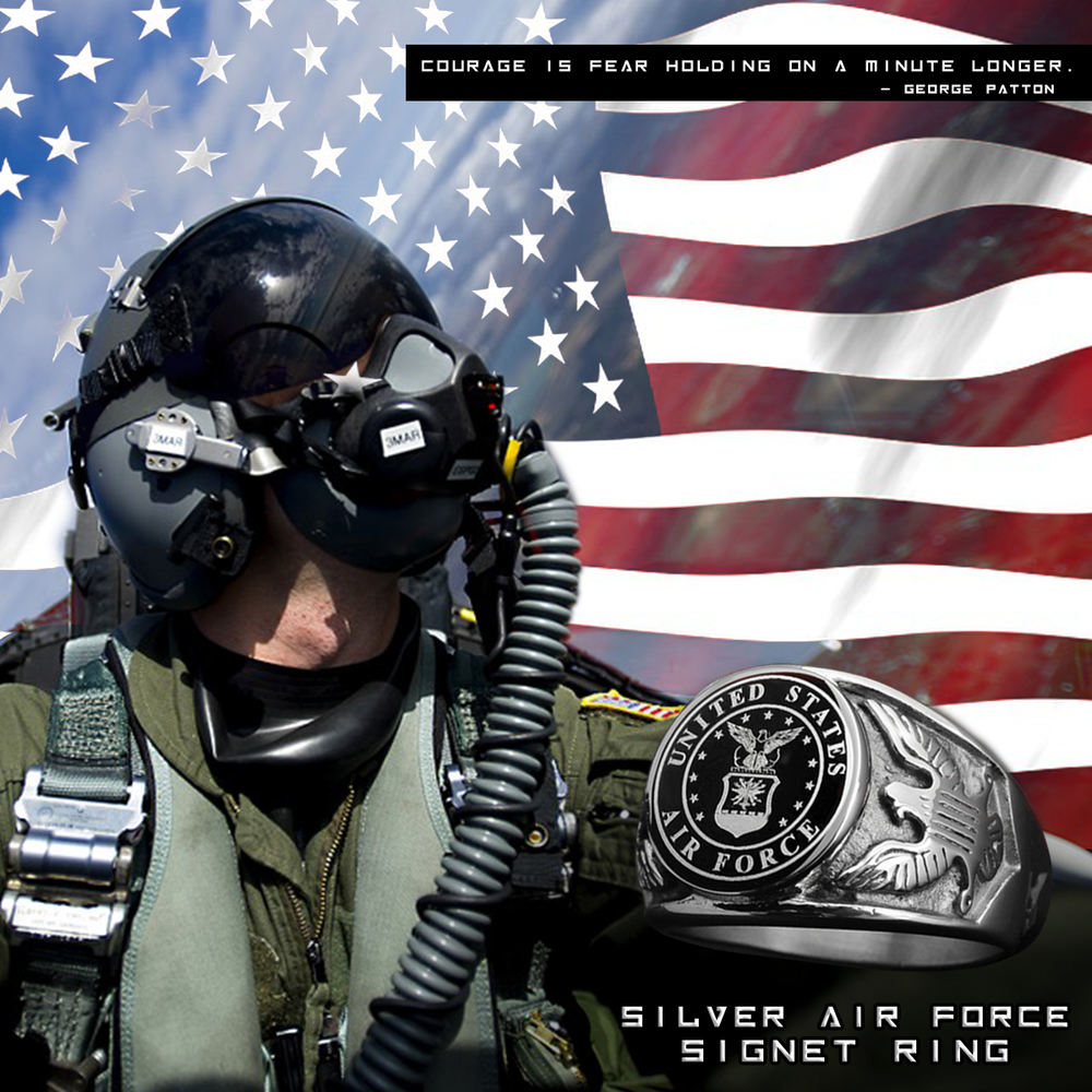 Silver Air Force Support Signet Ring