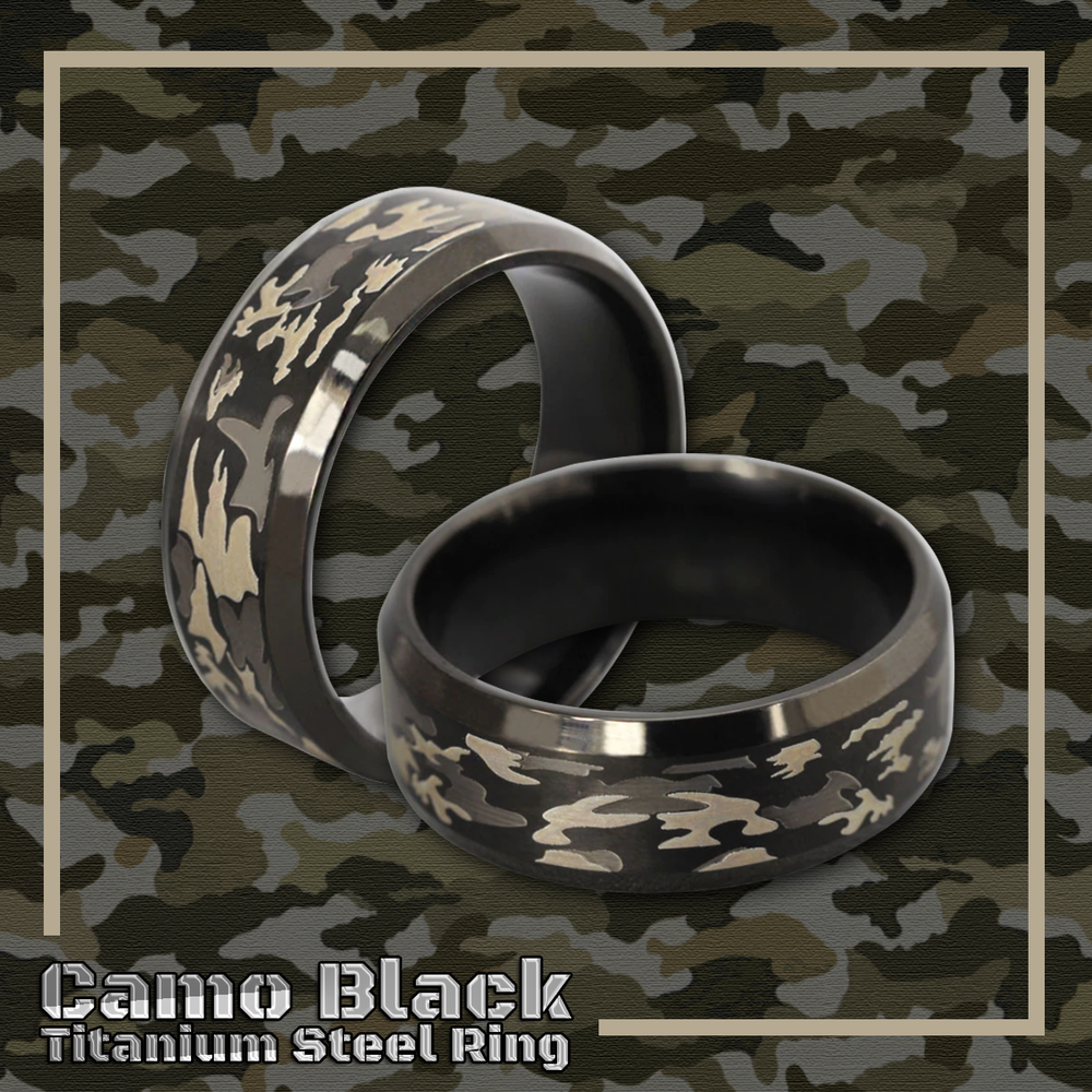 Camo Black Titanium Steel Ring