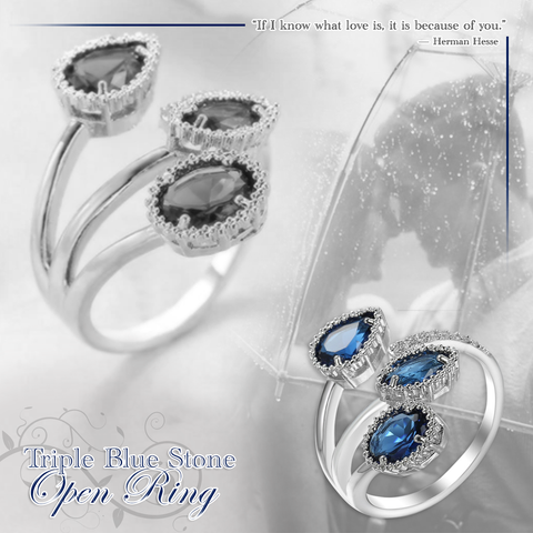 Triple Blue Stone Open Ring