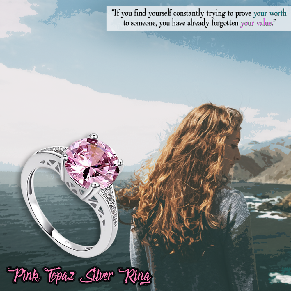 Pink Topaz Silver Ring