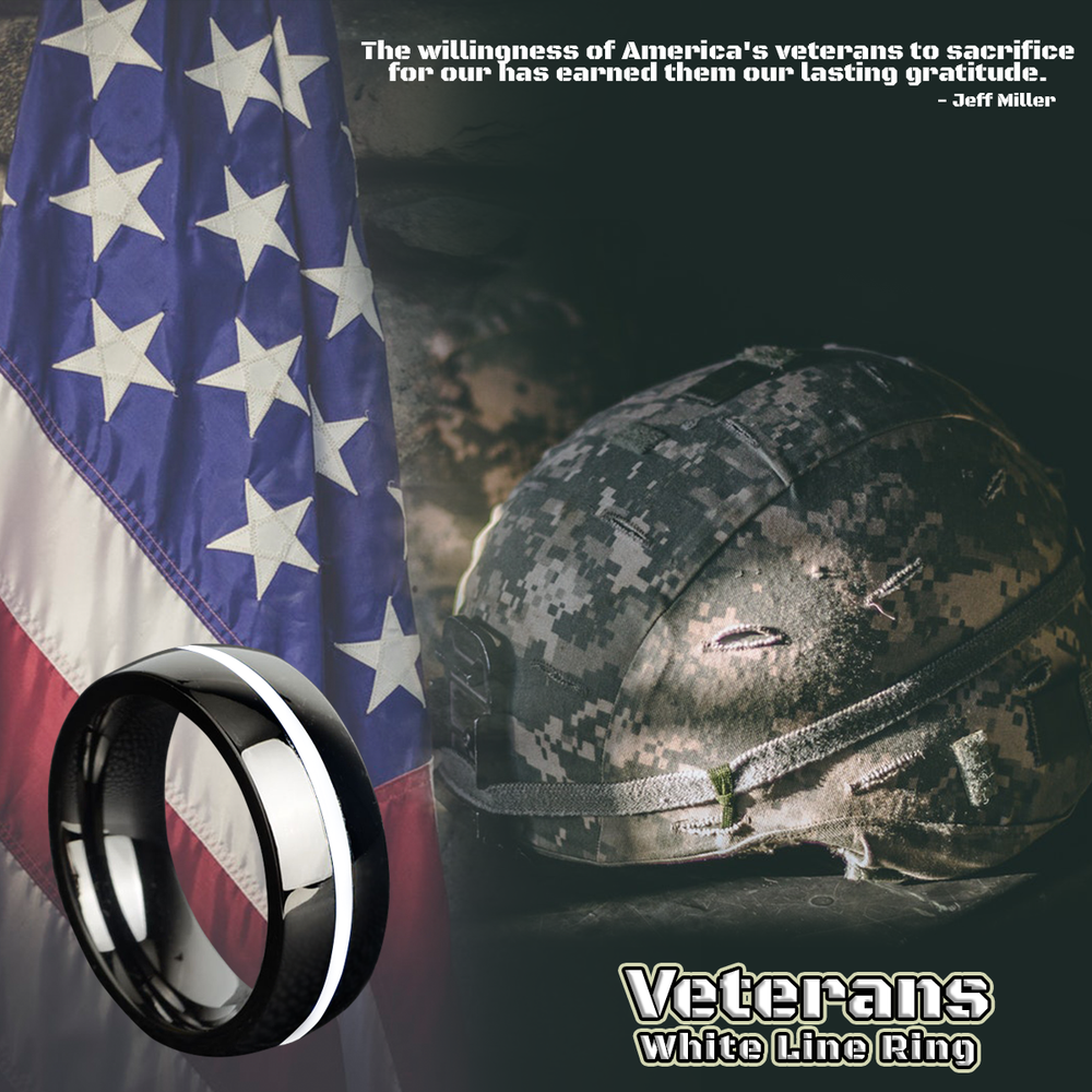Veterans White Line Ring