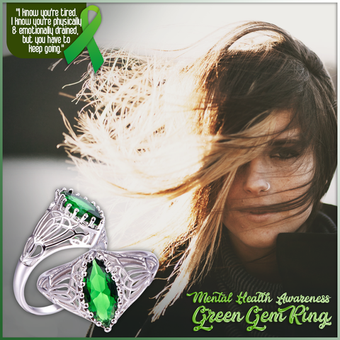 Mental Health Awareness Green Gem Ring