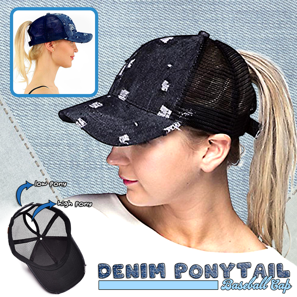 Denim Ponytail Baseball Cap