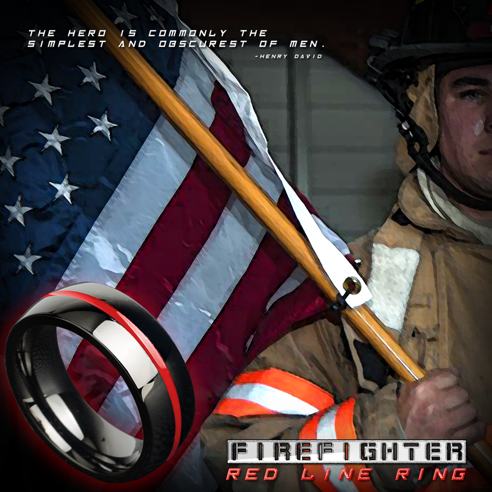 Firefighter Red Line Ring