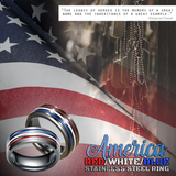 America Red/White/Blue Stainless Steel Ring