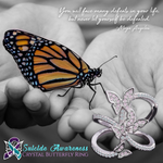 Crystal Butterfly Suicide Awareness Ring
