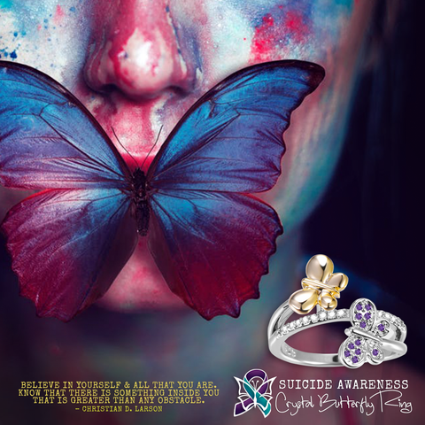 Suicide Awareness Double Butterfly Ring Offer