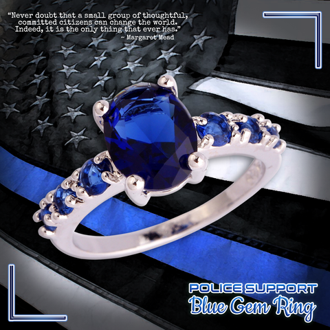 Police Blue Gem Ring