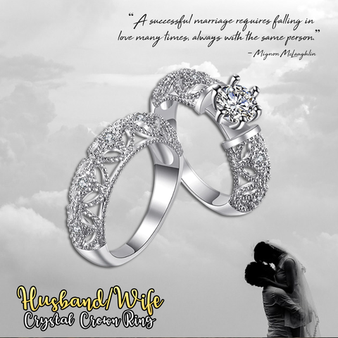 Crystal Husband/Wife Crown Ring
