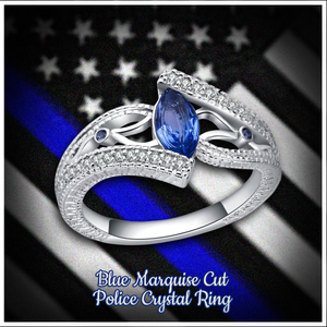 Blue Marquise Cut Police Support Crystal Ring