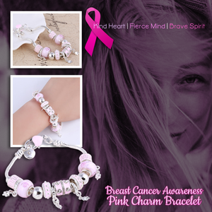 Pink Breast Cancer Awareness Charm Bracelet