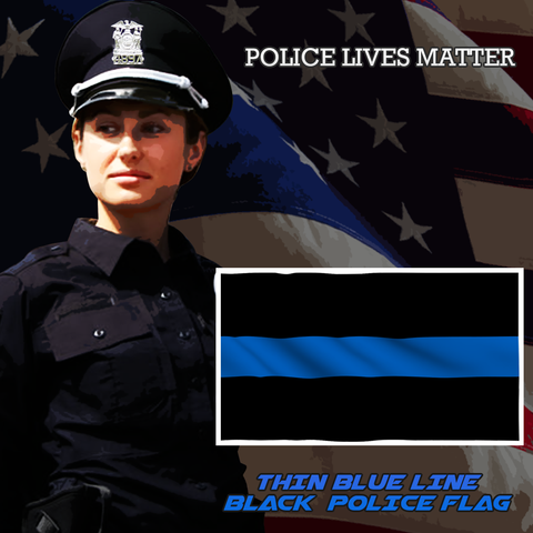 Black Thin Blue Line Police Flag