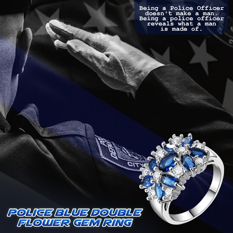 Police Blue Double Flower Gem Ring