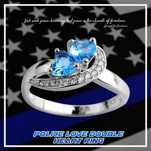 Police Love Double Heart Ring
