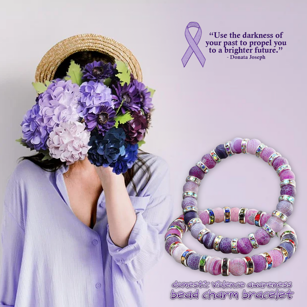 Domestic Violence Awareness Bead Charm Bracelet
