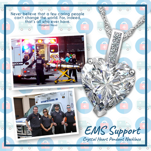EMS Support Crystal Heart Pendant Necklace