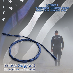 Police Support Blue Rope Charm Bracelet