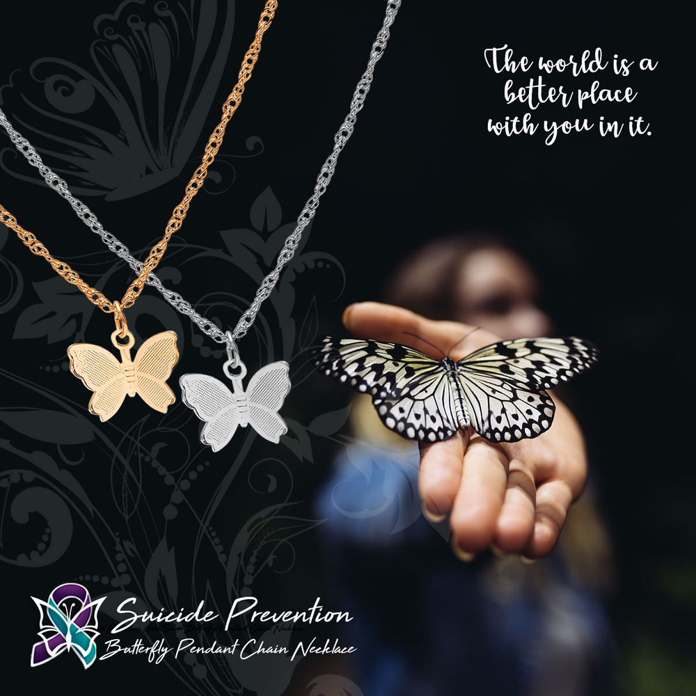 Suicide Prevention Gold/Silver Butterfly Pendant Chain Necklace