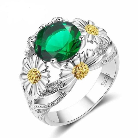 Elegant Green Crystal Army Ring