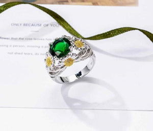 Elegant Green Crystal Army Support Ring