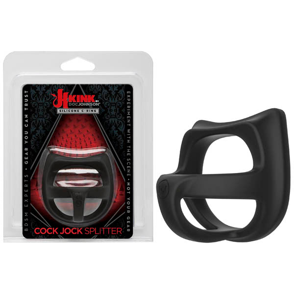 KINK Cock Jock Splitter - Black Silicone Cock & Ball Splitter Ring