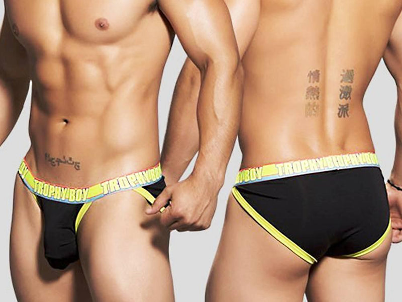 TROPHY BOY ATHLETIC BRIEF W/SHOW-IT (BLACK)