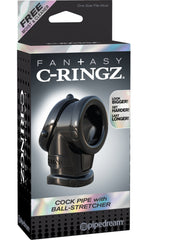 Fantasy C-ringz Cock Pipe With Ball Stretcher - Black Cock & Ball Rings