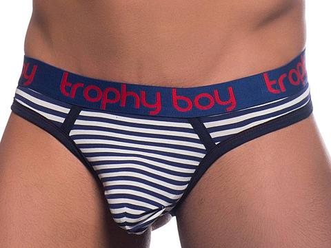 TROPHY BOY NAUTICAL THONG (NAVY-WHITE STRIPE)