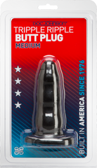 Triple Ripple Butt Plug (Black)