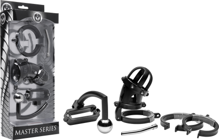 Oppressor Male Confinement Chastity Cage With Ball Clamp And Anal Hook (Black)