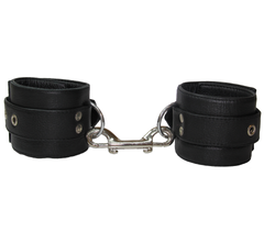 Thick, supple and soft padded leather ankle restraints with double ended snap join.