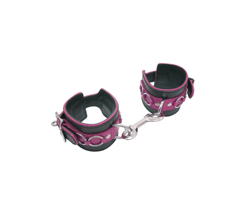 Leather ankle restraints with dee and lockable buckle