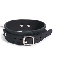 Heavy duty black silicone collar & lead set with faux stitching effect.