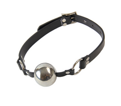 Solid Chrome Effect Ball Gag Leather