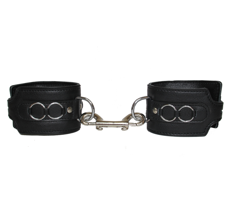 Leather wrist restraints with metal ring feature
