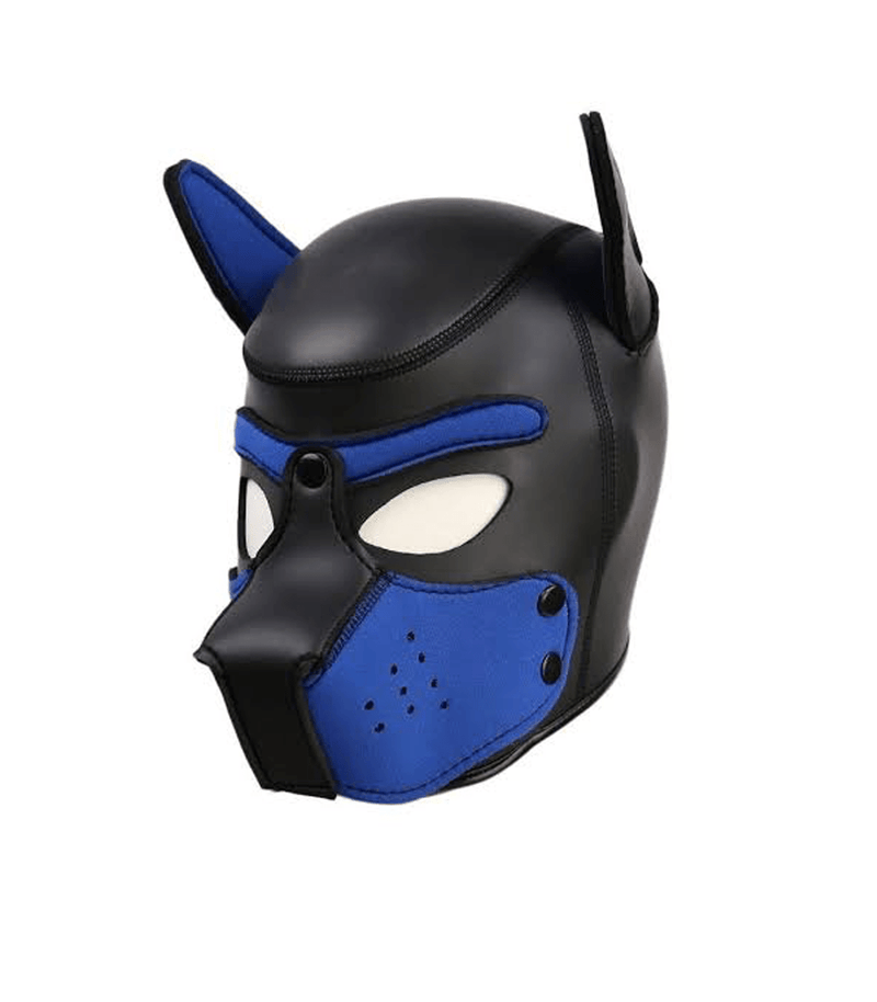 Neoprene puppy hood with removable muzzle and bendable ears