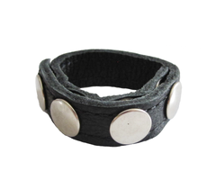 Leather cock band with stainless steel press studs